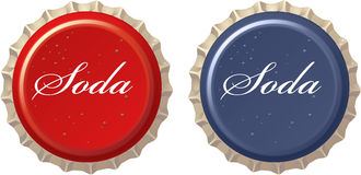 Red Cola Bottle Cap. Red and blue soda bottle cap Stock Photo