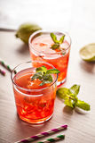 Red cold summer cocktail drink Stock Photos