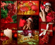 Red collage of Christmas related theme royalty free stock photos