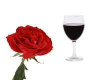 Red collage. Rose and glass of wine. Royalty Free Stock Images