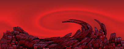 In the red/collapse. Conceptual digital artwork showing the financial crisis in the  US Stock Images