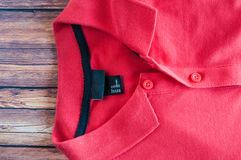 Red collar T Shirt close up Royalty Free Stock Photography