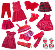 Red collection of child girl's clothes isolated on wgite.Collage Stock Photo