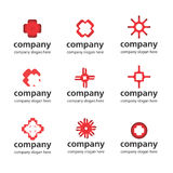 Red medical logo. Red collection of medical and pharmaceutical logos Royalty Free Stock Images