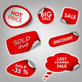 Red collection stickers sale discount template Stock Image