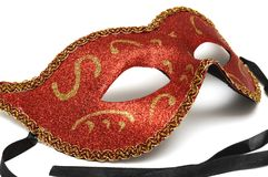 A red colombina theater half face mask Stock Photos
