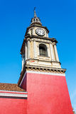 Red Colonial Church in Santiago Royalty Free Stock Images