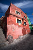 Red colonial house in guanajuato city mexico Royalty Free Stock Image