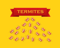 Red colony of termites. Vector flat style illustration. Stock Images