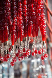 Red color beads with crescent and star Stock Photos