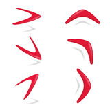 Red color boomerang different foreshortening Stock Image