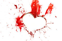 Red color cut out heart Stock Photo