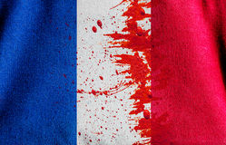 The red color dirt  with Canvas fabric texture of the flag  Fran. Red color dirt  with Canvas fabric texture of the flag  France in concept pray for paris , 13 Royalty Free Stock Photo