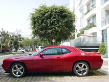 Red color Dodge Challenger SRT8 392 Hemi in Lima Royalty Free Stock Images