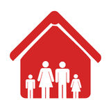 Red color emblem pictogram with family in home. Vector illustration Royalty Free Stock Photography
