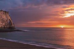 Free Red Color Etretat Sunset Stock Photos - 89816353