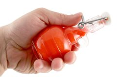 Red Color Flask. My Hand is opening and pouring red color Stock Image