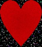 Red color furry heart with shinning stars and bubbles background computer generated image and wallpaper design. Useful for many purpose like , printing , screen vector illustration