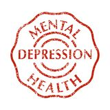 Mental disorder depression stamps. In Red color grunge Stamp with text depression. Mental disorder stress. Isolated vector illustration vector illustration