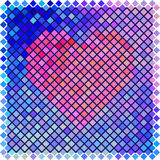 Red color halftone heart shape Stock Photo