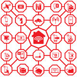 Red color icons home network Royalty Free Stock Image