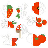 Red Color Images, the big kid game to be colored by example half. Red Color Images, the big collection coloring book to educate preschool kids with easy gaming vector illustration