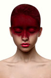 Red color makeup on face beauty girl with pink lips Royalty Free Stock Photos