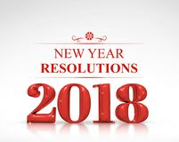 Red color 2018 new year resolutions 3d rendering on white stud Stock Photography