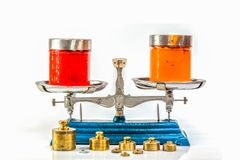 Red color and orange color of plastisol ink on Weight Scale. Stainless steel weight scales in blue color with weighing plates for weighing. There are many brass royalty free stock photography