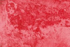 Red color paint concrete wall for texture design stock images