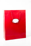 Red  color paper bags isolated on white. Stock Image