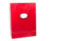 Red  color paper bags isolated on white. Stock Images