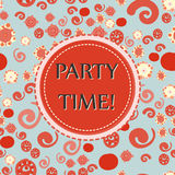 Red Color Party time Vector seamless pattern with hand drawn Doodle elements - spots, dots, spirals, flowers. Festive Royalty Free Stock Images