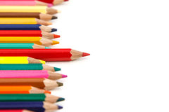 Red color pencil stand out other Stock Photos