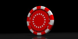 Red color poker chip isolated on black background. 3d illustration. Gambling, casino concept. Red white color poker chip isolated on black background. 3d stock illustration