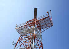 Red Color radar tower Stock Photo