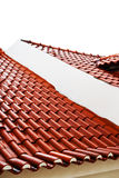 Red color roof tiles isolated with copyspace. Red color roof tiles isolated with copy space Stock Photos