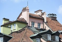 Warsaw Old Town Roofs Royalty Free Stock Photos