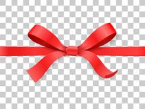 Red color satin bow knot and ribbon  on white background. Vector illustration 3d top view Royalty Free Stock Photography