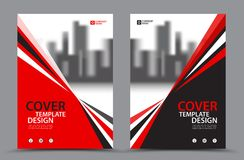 Red Color Scheme with City Background Business Book Cover Design Template in A4. Brochure layout, Annual Report, Magazine, Poster,. Presentation, Portfolio Stock Image