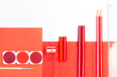 Red color school supplies Royalty Free Stock Images