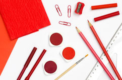 Red color school supplies Stock Photo
