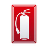 Red color signal silhouette fire extinguisher icon. Illustration Royalty Free Stock Images