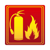 Red color signal silhouette fire flame and extinguisher icon Stock Photography