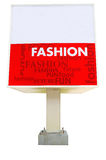 Red color signboard isolated & clipping. Isolated signboard with various word associated with Fashion, clip path included Stock Photos