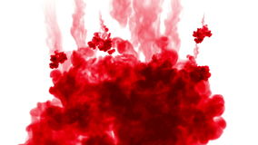 Red color spins in water and move in slow motion. Use for inky background or backdrop with smoke or ink effects, alpha stock video footage