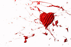 Red color splash love heart Royalty Free Stock Image