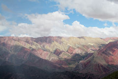 Red color striped mountains, Cerro de siete colores Stock Photo