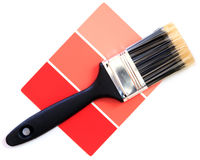 Red color swatch. With paintbrush stock photo