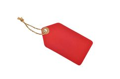 Red color tag. With rope royalty free stock photo